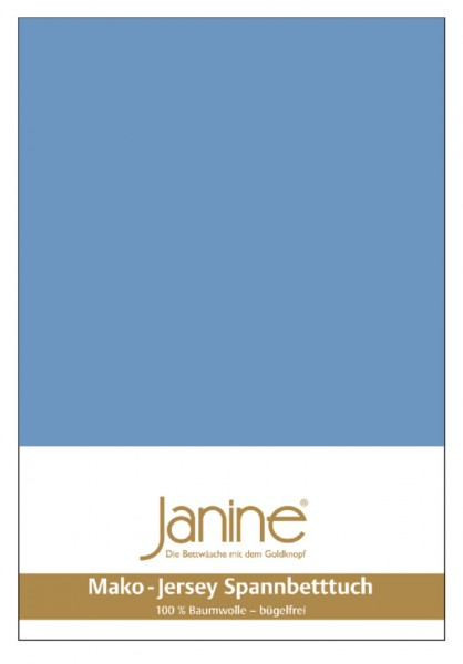 Janine Spannbetttuch Mako-Feinjersey 5007 blau Größe:  100×200 cm